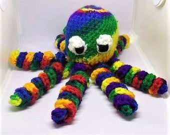 Crochet Octopus, Amigurumi Octopus, Crochet Toy,  Stuffed Animal, Nursery Decor, Rainbow Octopus, Crochet Rainbow, Newborn Toy