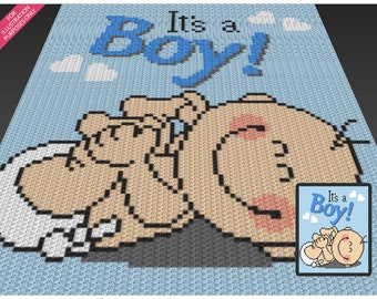 It's a Boy! crochet blanket pattern; c2c, cross stitch; knitting; graph; pdf download; no written counts or row-by-row instructions