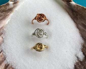 Wire Wrapped Rose Ring Gold Silver Bronze