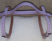 Hand crafted Lavender leather Vintage picnic blanket strap with carry handle