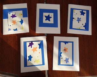 Hand-painted Bright Star Cards (Set of 5)