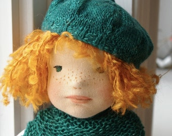 """Unique 15"""" Felted Fabric Waldorf inspired Doll: Iseult"""