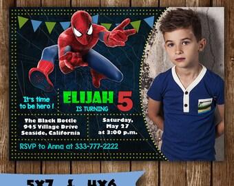Spiderman invitation spiderman birthday invitation spider man marvel avengers superhero party invite birth card printable supplies svg boy