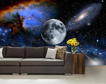 Galaxy wall mural, wall mural stars, nebula wall mural, self-adhesive , STAR wall DECAL, space star wall mural, moon wall mural, univerzum