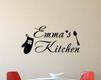 Personalized Kitchen Wall Decal Girl Name Quote Spoon Oven Glove Kitchen  Gifts Vinyl Sticker Home Decor