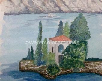Watercolor Ocean Painting, Seascape Original, Landscape Mountain painting, Tree painting, Travel Art, Greece painting, Island Villa