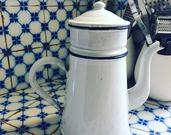 French enamel coffee pot from the 40s. Complete. french COFFEE POT. Enamelware. White & blue
