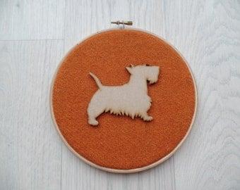 Harris tweed scottie dog wall hanging