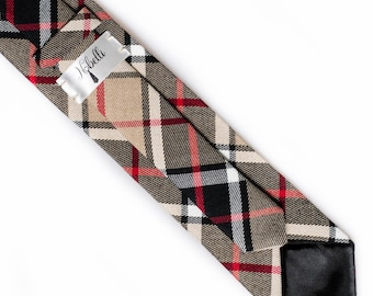 Necktie, tie, plaid necktie, brown tie, plaid tie, black tie, slim tie, skinny tie, winter tie, mens ties
