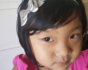 Soft Leather Silver Glittering Big Bow with Headband/Hair clip