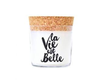 Duftkerze - ' la vie est Belle  ' - Scented Candles - Kerzen - Kaarsen - Bougies - Levende Lys