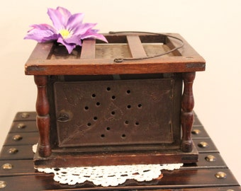Antique Vintage Carriage Sled Tin and Wood Foot Warmer