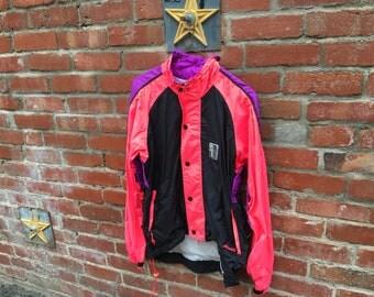 SALE! In Sport Jacket // 90s Neon Pink Black Purple Colorblock Windbreaker Biking Jacket Dave Scott Small Meidum