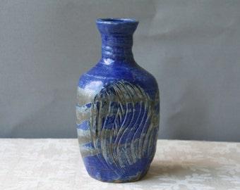SALE !!Vintage Studio Pottery Vase Blue Vase
