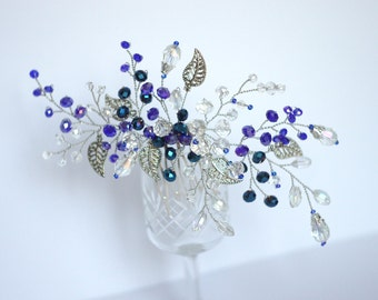 Crystal hair comb, party hair accessories, something blue for bride, navy blue wedding, blue bridal hair comb, delicate comb