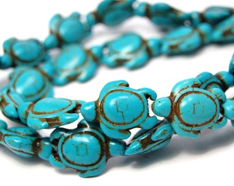 "Two 15.5"" strands Turquoise Howlite Turtle Beads"
