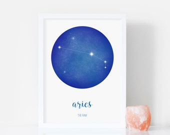 Aries Print - Star Sign Print - Constellation Print - March / April Birthday Gift - Signs of Zodiac / Astrology / Horoscopes - Aries Art
