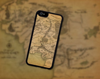 Middle Earth Lord Of The Rings The Hobbit Map.  Iphone 6 / 6s / 6 plus / 7 / 7 plus Phone case Plastic / Silicone Rubber