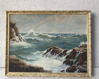 Vintage MCM Oceanscape Painting