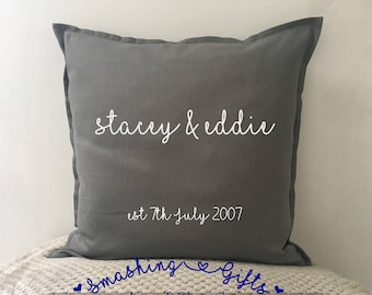 Personalised cushion wedding anniversary valentines gift includes insert