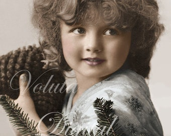 Cute girl with pine branches and pine cones. Digital download  -  Edwardian Vintage Postcard.