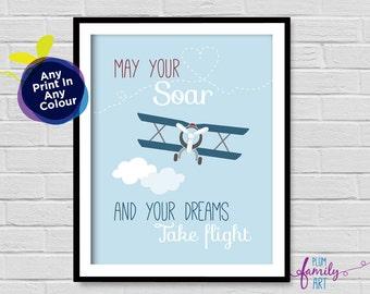 Airplane Print, Nursery Wall Art, Plane Nursery Print, Boys Room Print, Airplane Decor, Biplane Art, Airplane Theme, Plane Theme Boys