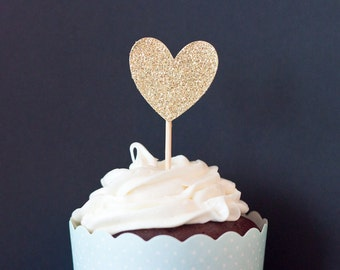 Heart Cupcake Toppers |  Cupcake Decorations | Bachelorette Party, Stagette, Engagement Party, Bridal Shower, Hen Party Ac
