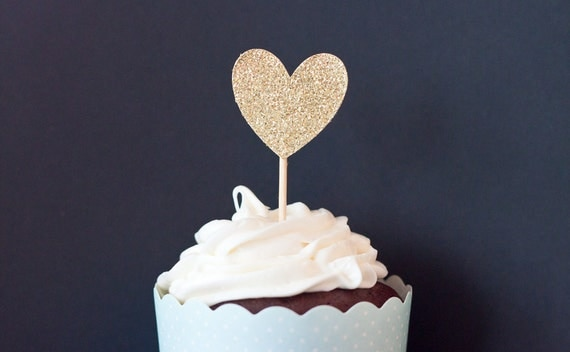 Heart shaped cupcake toppers in glitter gold, silver, or champagne