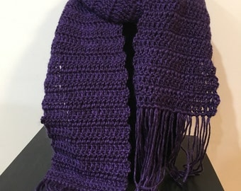Traditional Purple Scarf with Fringe