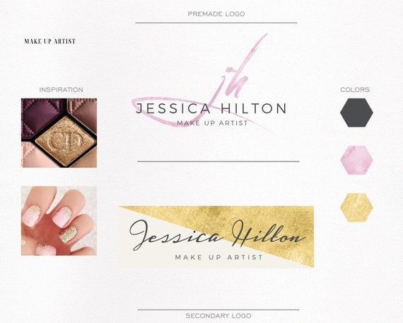 Mini luxury branding kit, Gold Foil/Pink brush for make up artist, photography logo, Custom logo, Premade Logo, Initials, Elegant, Fashion