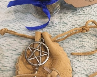 Amulet Protection Bag Wiccan Spell Leather Yellow