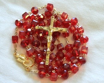 Red and Gold Crystal Rosary
