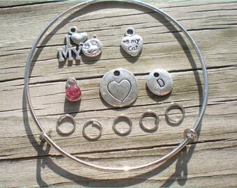 Cat Charm Bangle Set Kit, Adjustable, Do It Yourself Jewelry, Cat Theme