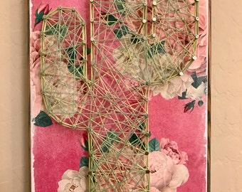 Cactus String Art Sign