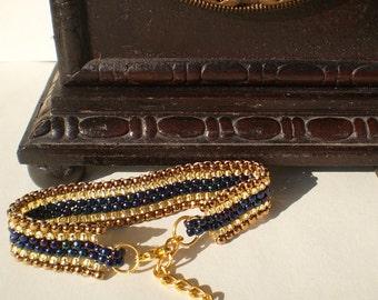 Peyote bracelet Bronze beaded bracelet Blue beaded bracelet Topaz beads bracelet Golden chain bracelet Adjustable bracelet Beaded jewelry