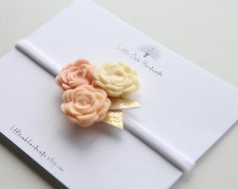 Wool Felt Trio Rose Bouquet Headband - Custard, Peach Blossom, Apricot Rose Headband - Baby Headband
