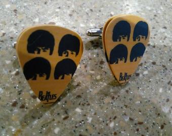 Beatles Plectrum Cufflinks - Yellow