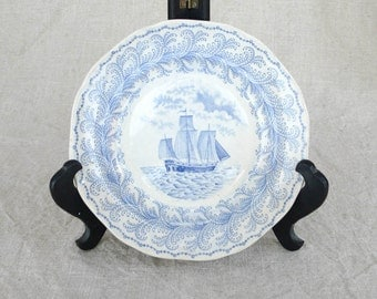 Vintage Florentine Blue and White Ship Plate