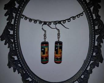Aztec Hand Painted Ceramic Earings