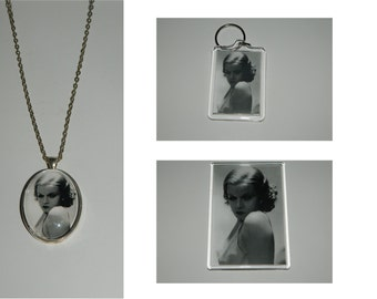 Jean Harlow  Glass Pendant Necklace, Acrylic  Keychain or Magnet or set