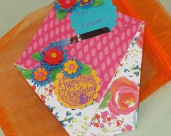 Birthday Flowers - Bright and happy handmade birthday gift card holder for her with a matching organza pouch - ORIGAMI