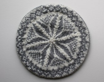 Fair Isle Tam - Wool Hand Knit in Grey and White Pattern - A Great Valentine Gift