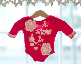 Baby Girl red romper,  Newborn Photography prop, handmade baby clothes