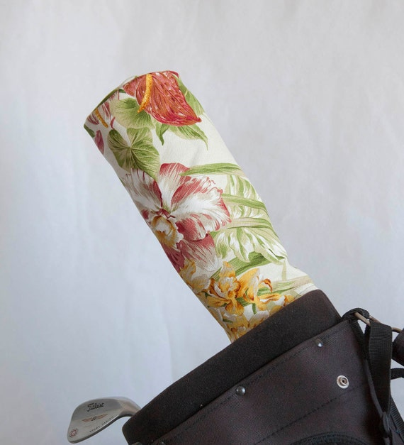 Sale!Golf Club Covers, Golf Head Covers, Golf Driver Head Cover, Golf Headcover, Golf Accessory, Hawaiian Flower Barkcloth Golf Driver Cover