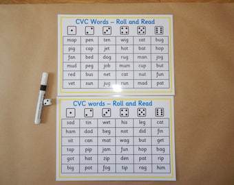 CVC Words - Roll and Read Game - Phonics, EYFS, KS1, SEN , First words, Reading, Reusable, Laminated mats, teaching , educational