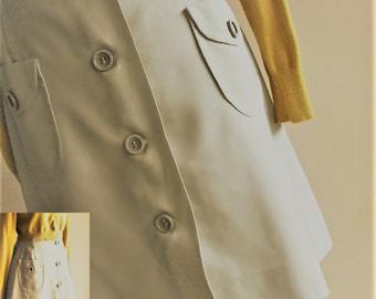 Vintage Retro 60s, miniskirt, beige, 2 pockets, multi-purpose skirt/ mini-jupe rétro 1960