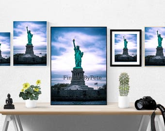 Statue of Liberty printable art, New York City digital download, NYC instant photography prints, famous landmarks photos