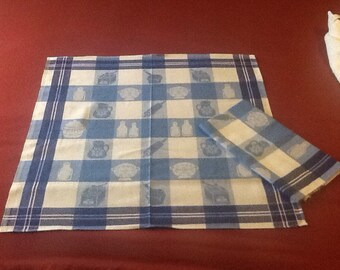 Vintage, Dutch, checkered tea towel.