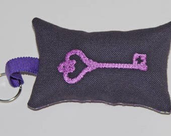 Purple embroidered key ring