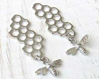 Bee charms, honey bee pendant, honey comb charms, Bee pendant, silver honey bee, queen bee charms, silver bee charms, necklace pendant